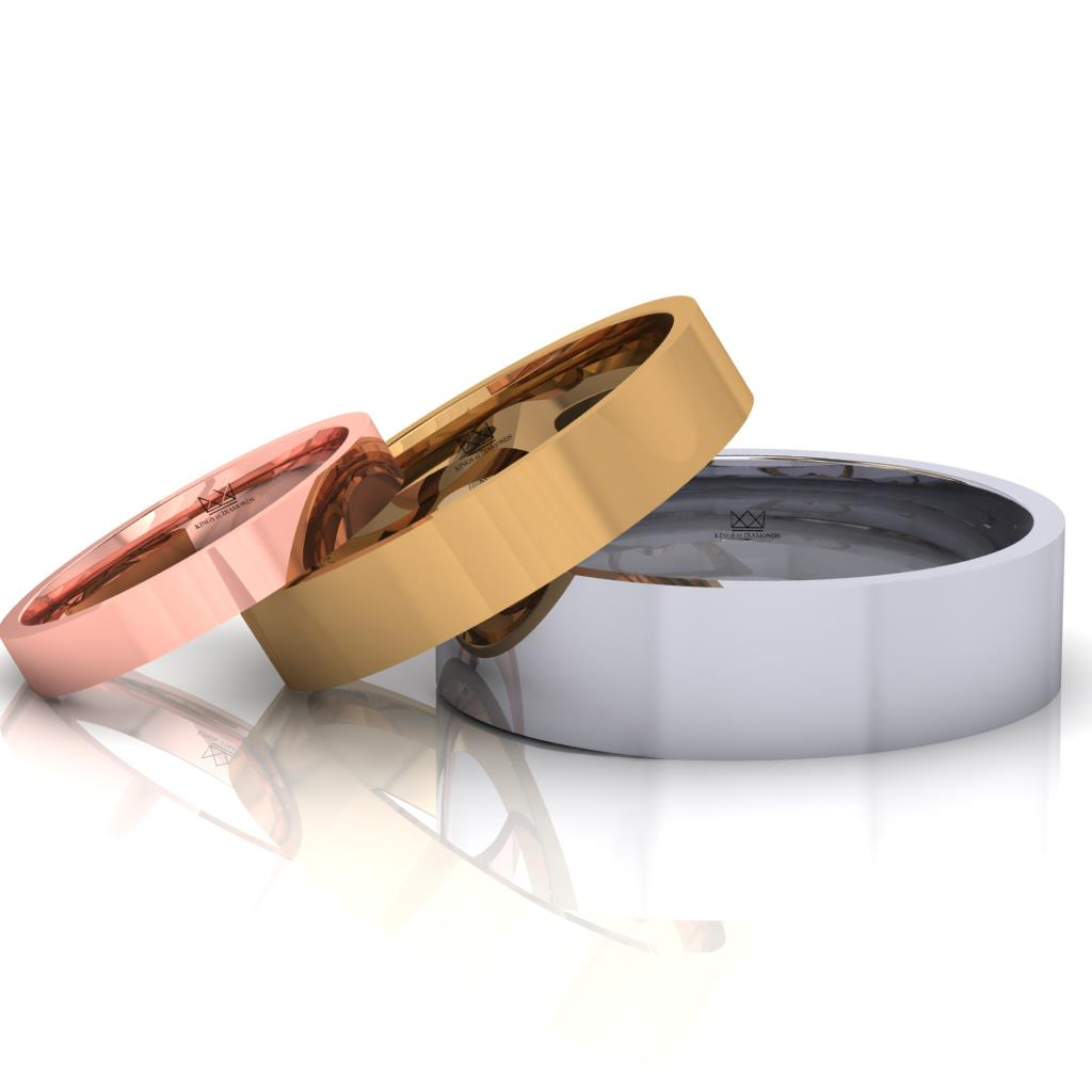 Traditional Flat Court Shape Wedding Bands