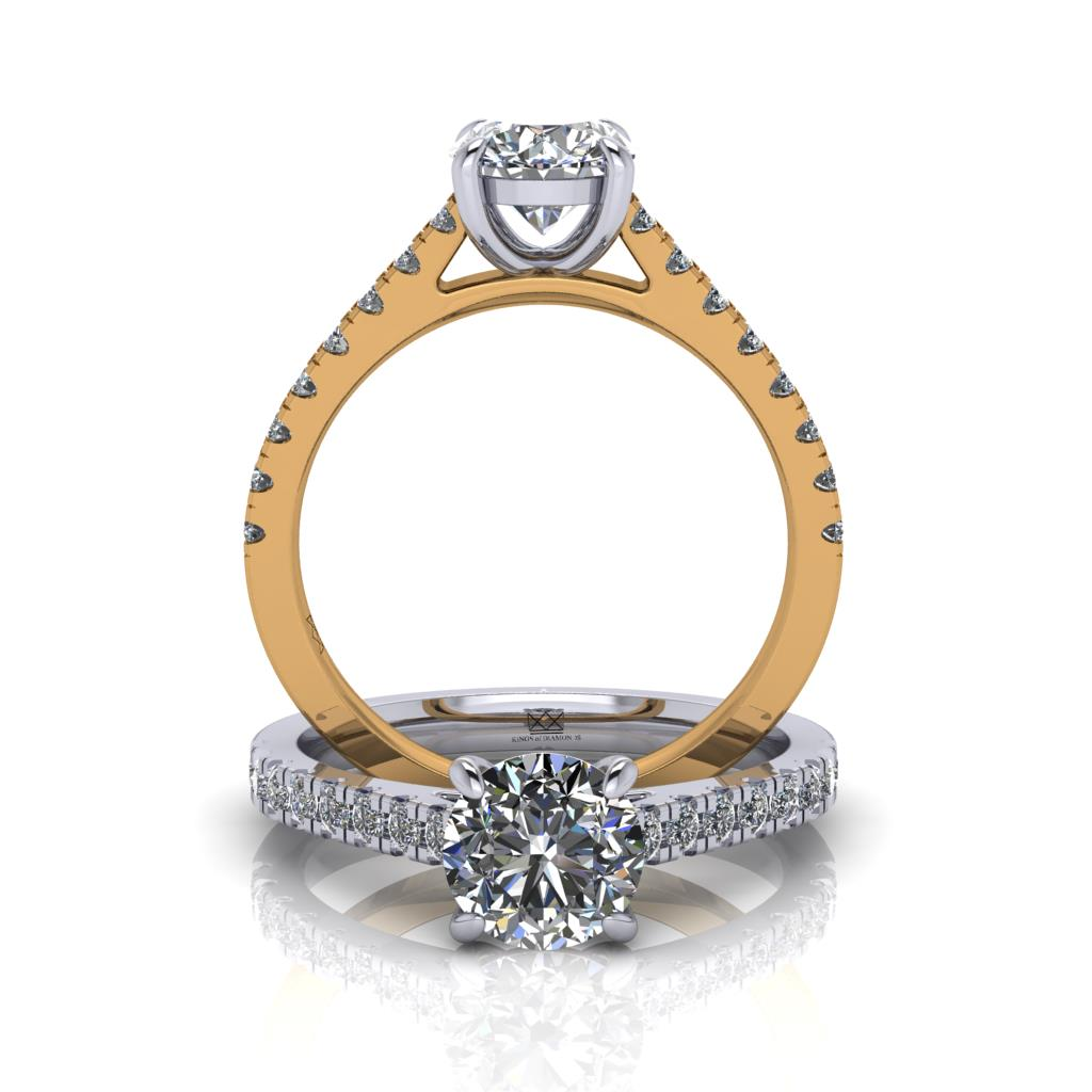 Micro Set shoulder Engagement Ring with 4 Claws and gap