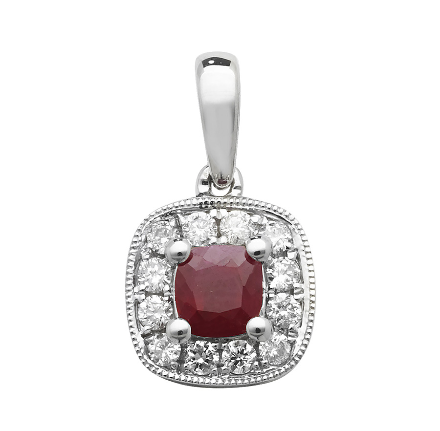 Kings of diamonds ruby pendants cushion ruby and diamond pendant mozeypictures Image collections