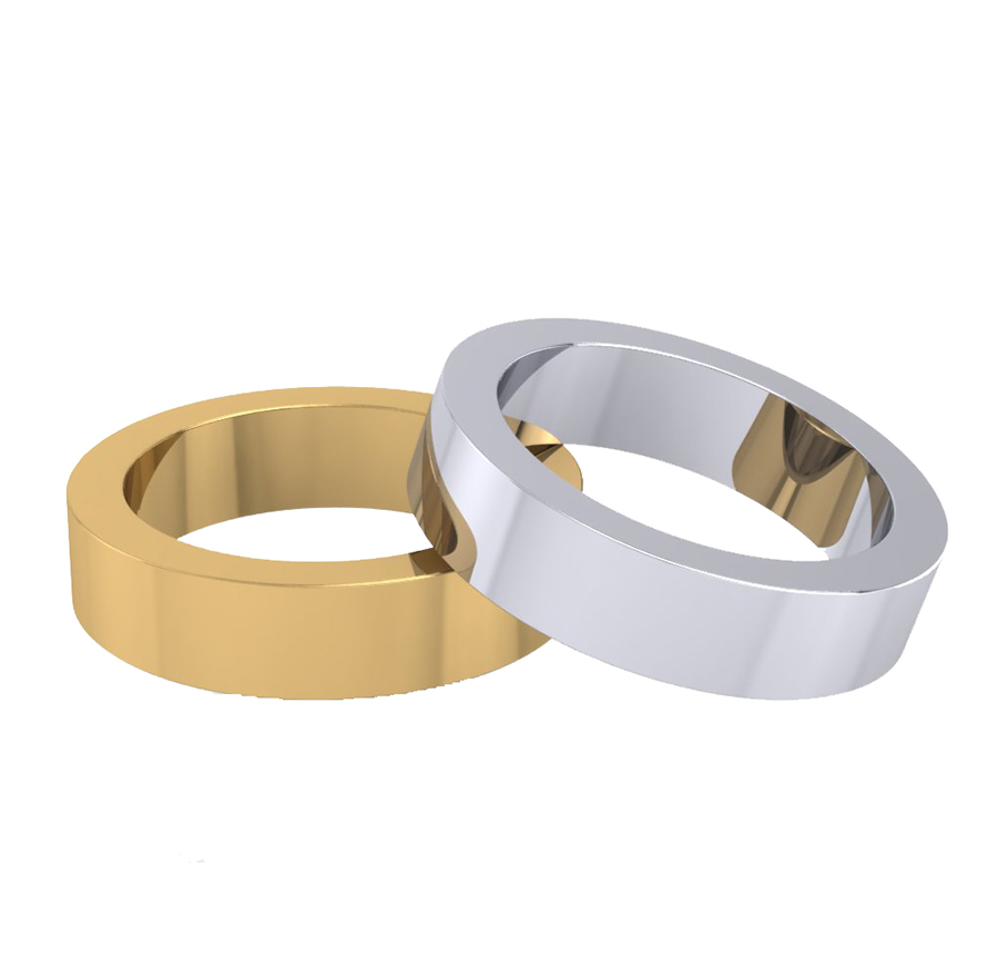 Traditional Flat Shape Plain Wedding Bands