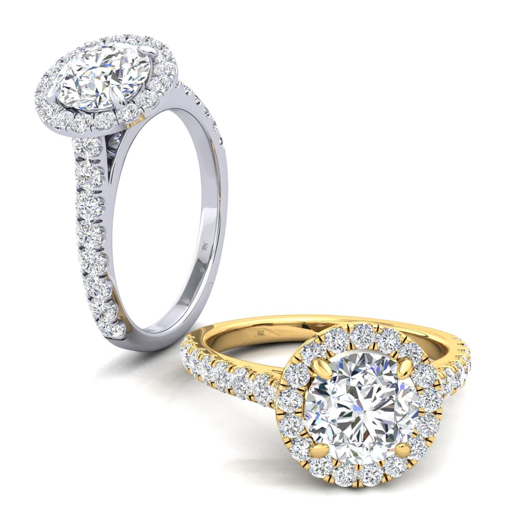 Micro Set Halo and Shoulders Round Diamond Engagement Ring