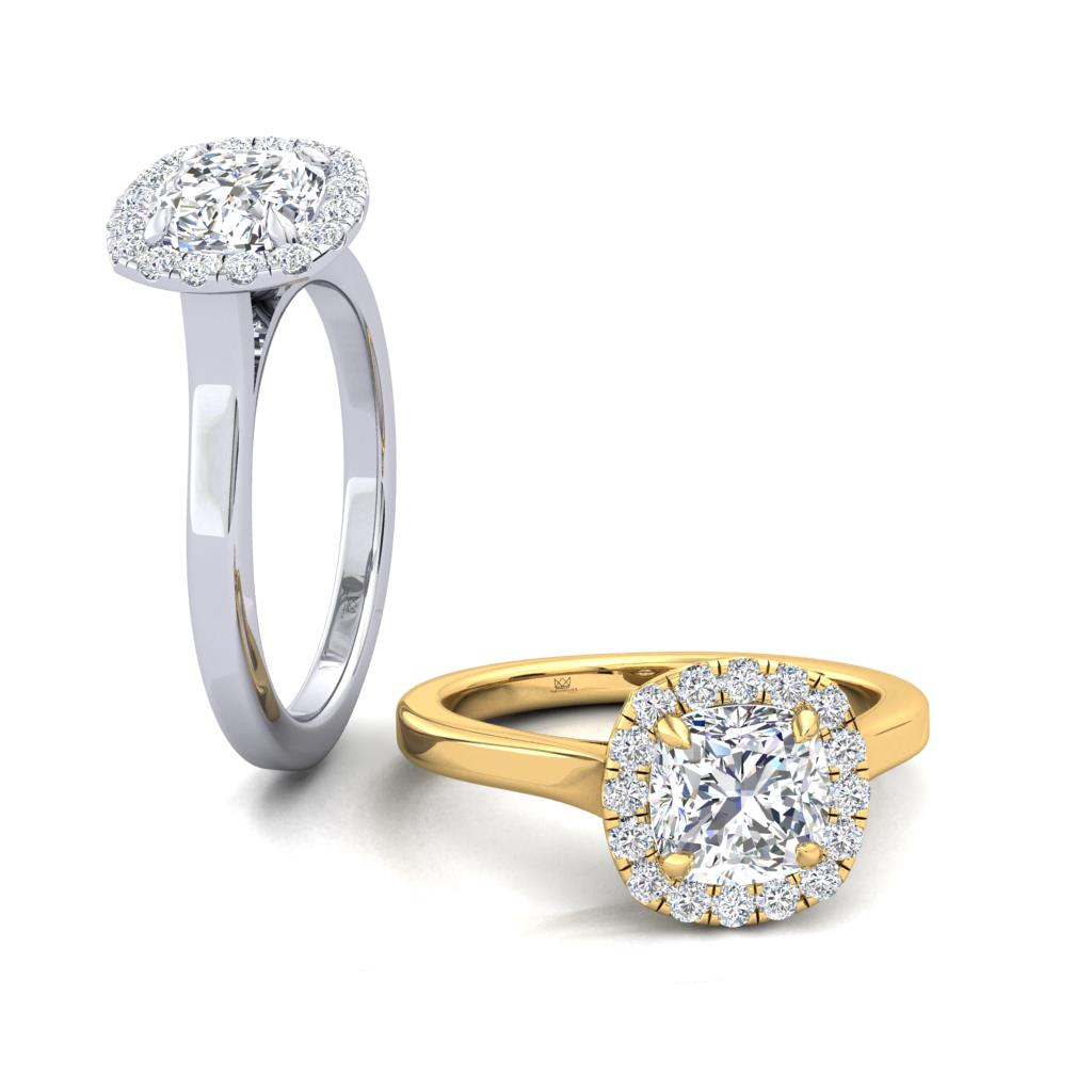 Micro Set Halo Engagement Ring with Cushion Cut