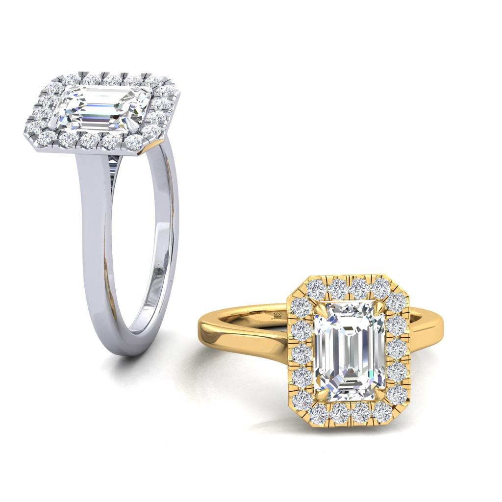 Micro Set Halo Engagement Ring with Emerald Cut
