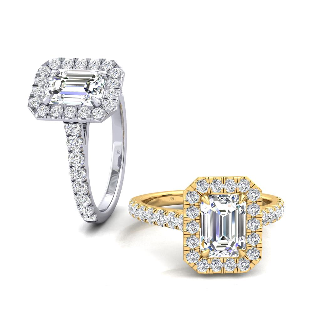 Micro Set Halo and Shoulders Emerald cut Diamond Engagement Ring