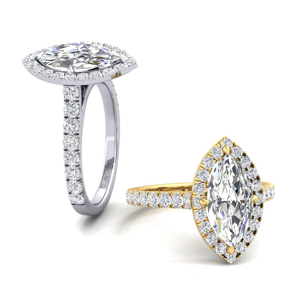 Micro Set Halo and Shoulders Marquise cut Diamond Engagement Ring