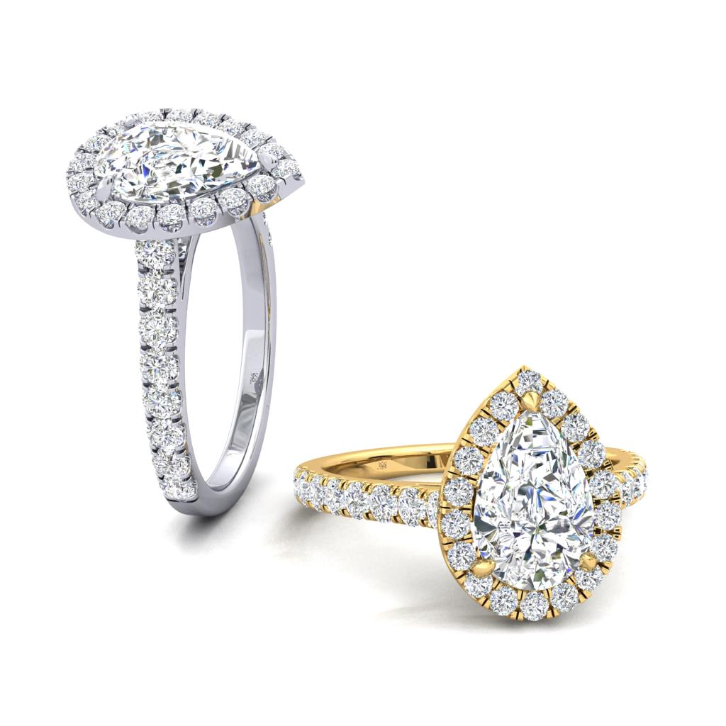 Micro Set Halo and Shoulders Pear Shape Diamond Engagement Ring
