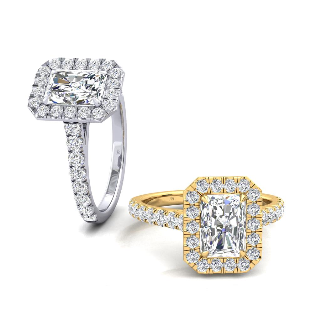 Micro Set Halo and Shoulders Radiant cut Diamond Engagement Ring