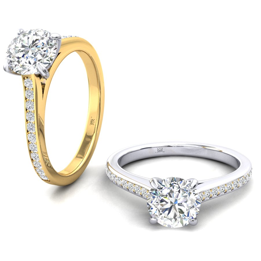 Round Diamond 4 Claw Pave set Engagement Ring